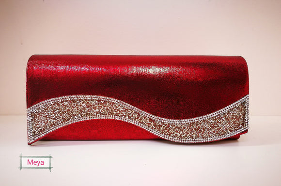 Clutchbag with silver glitter (7 different colours)