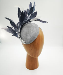 Silver grey and white fascinator hat