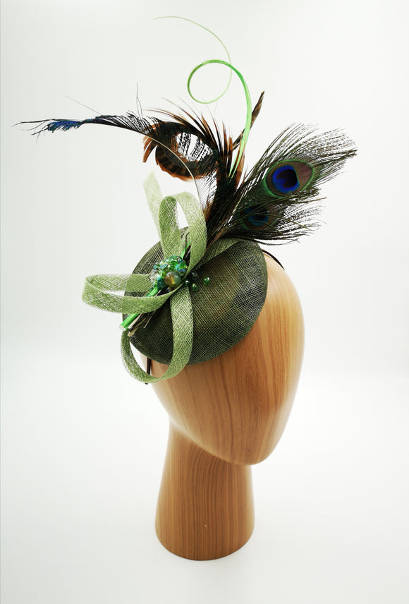Green mix colour fascinator