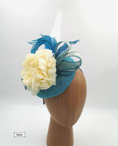 Blue and ivory fascinator