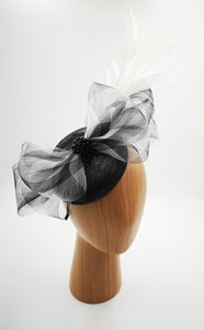 Black and white fascinator hat