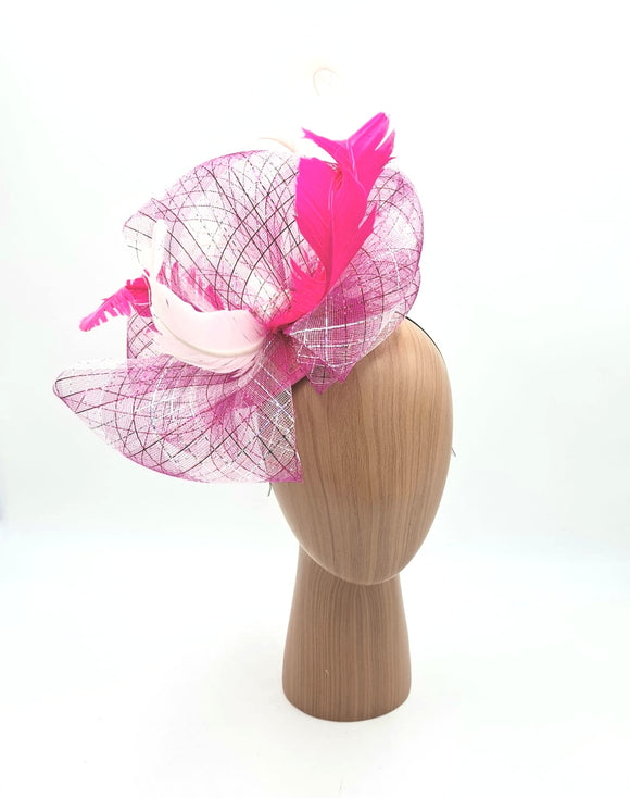 Silver and pink fascinator