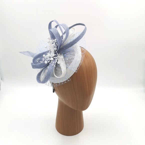 Blue and white fascinator