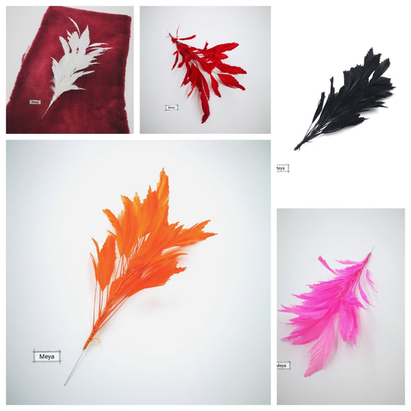Pack of 10 mix colours coque feathers mount
