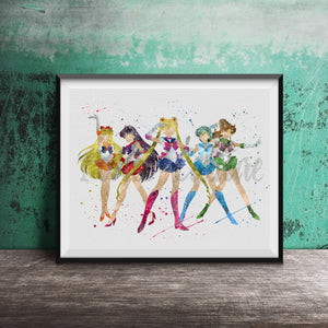 Sailor Venus, Mars, Moon, Mercury & Jupiter - Sailor Moon Art Print