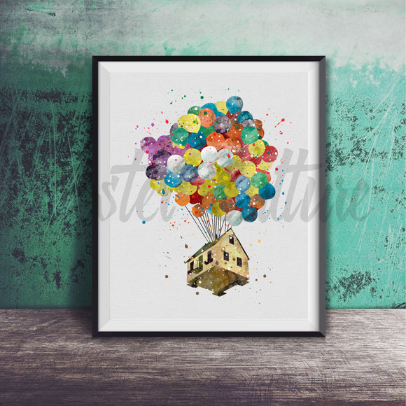 House on Balloon - Up Art Print