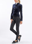 Short peplum blazer from Italian cotton-velvet in midnight blue
