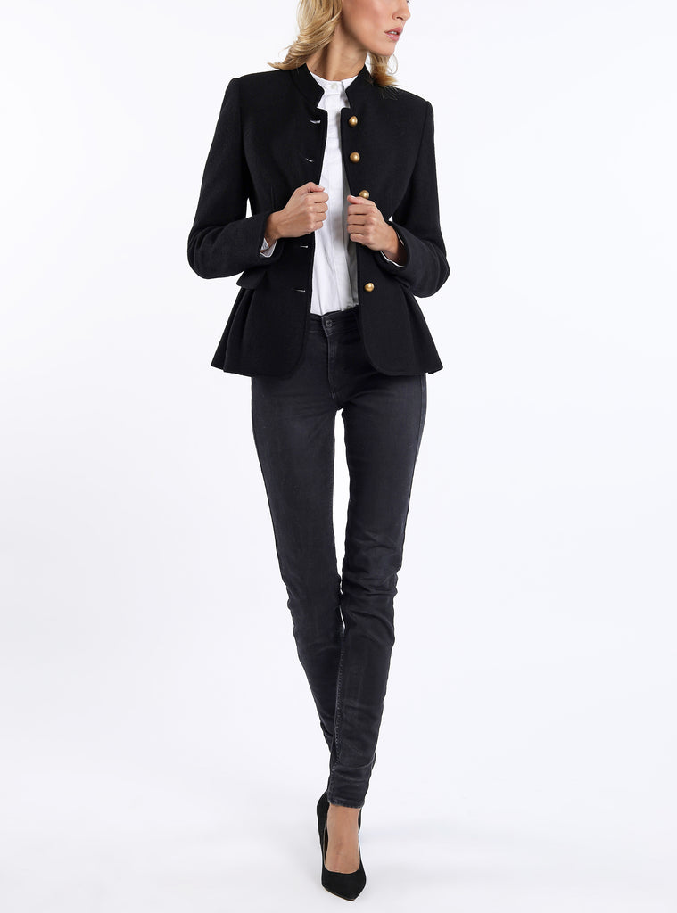 Peplum blazer from authentic Austrian wool-broadcloth in black