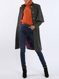Cape-coat from cashmere-piqué in dark olive