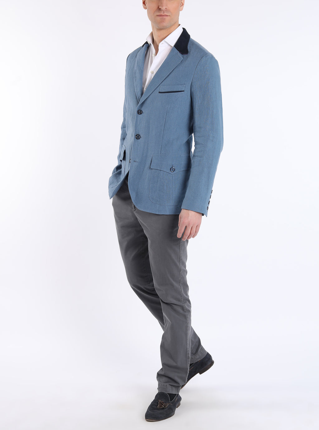 Country Blazer from Irish linen in blue