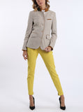 Jacket from stretchable cotton-linen-piqué in beige
