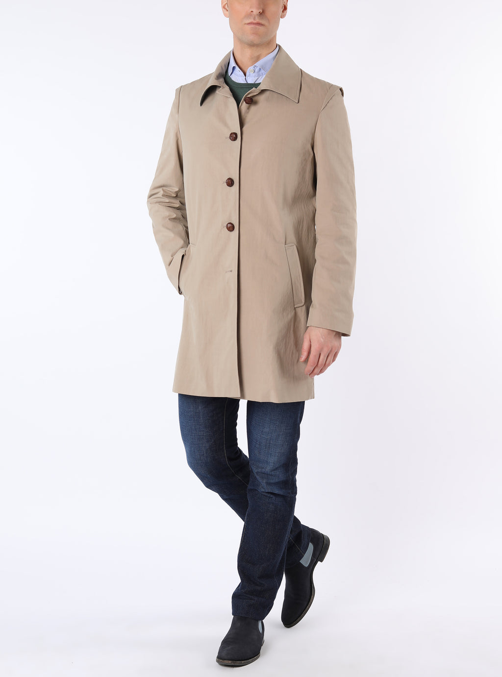Bavarian coat with back crease and back tab from outdoor-cotton in beige
