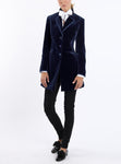 Long-blazer with lapels from Italian velvet in midnight blue