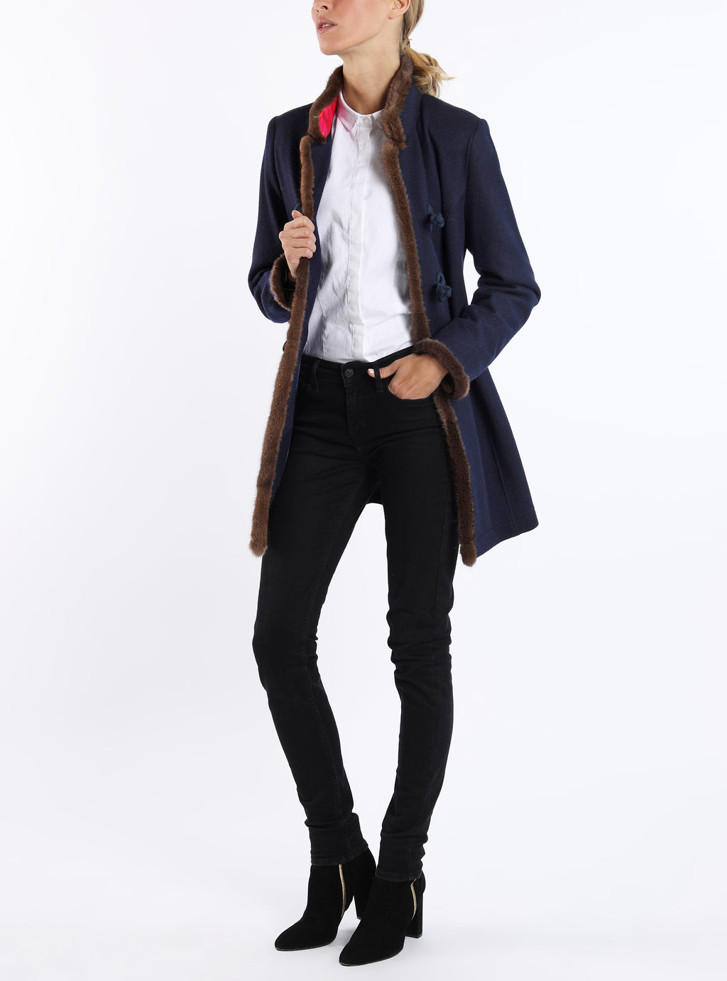 Long-blazer from Italian cashmere-jersey in navy