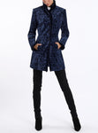 Long-blazer from Italian velour-jacquard in blue