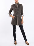 Long-blazer from Italian wool-jersey in taupe