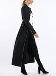 Duster from Italian wool-jersey in black with bright green details