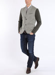 Blouson from linen-jersey with knitted arms in beige-green and olive