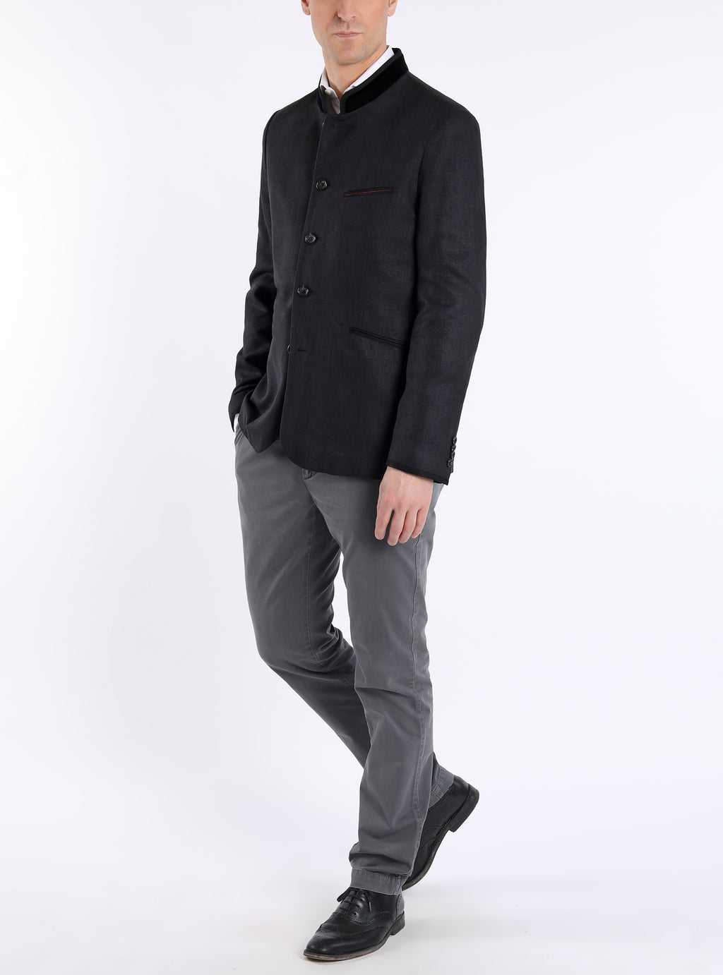 Jacket from wild-silk in black