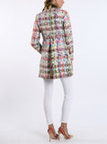 Coat from French volume yarns in an elaborate layered weave of rose and green