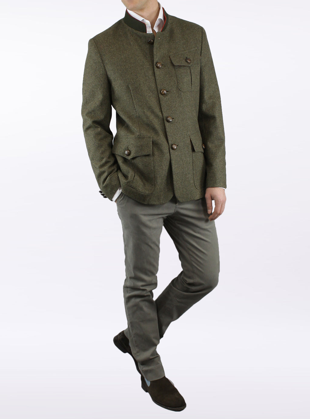 Jacket from Tyrolean loden in green-brown
