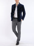 Blazer from Italian velvet in midnight blue
