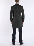 Light coat with stand-up collar from cotton-gabardine in dark green