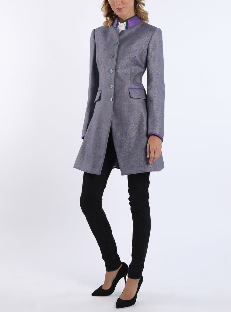 Long-blazer from bi-colored linen in lilac-green