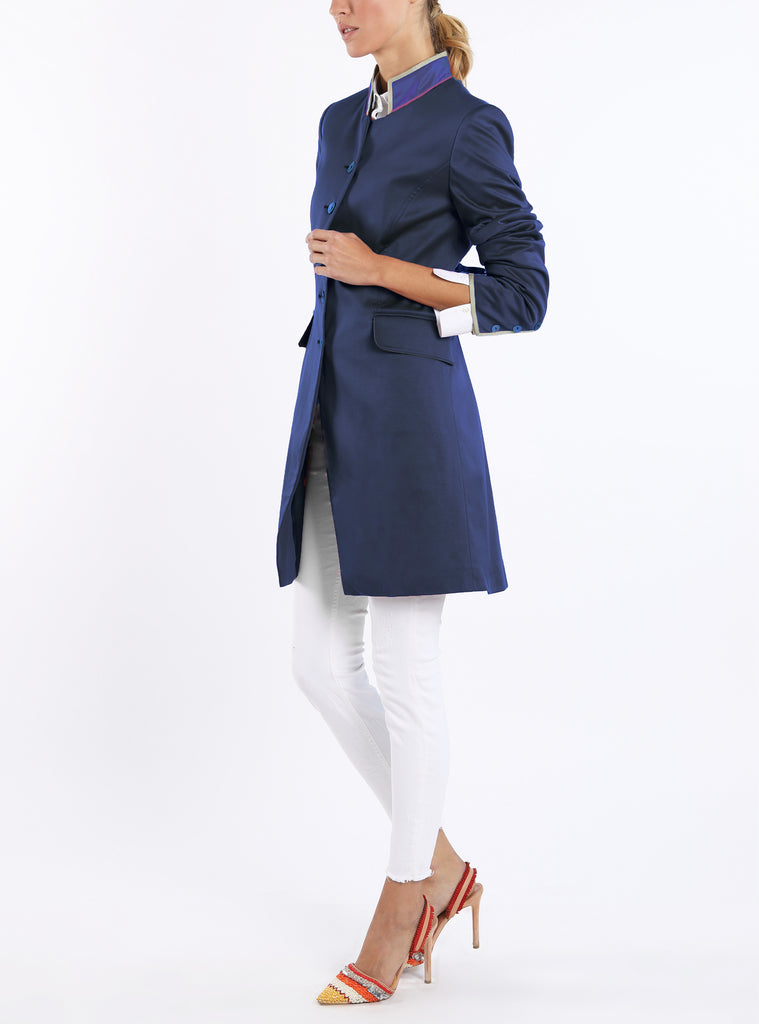 Long-blazer from Italian superfine-jersey in navy