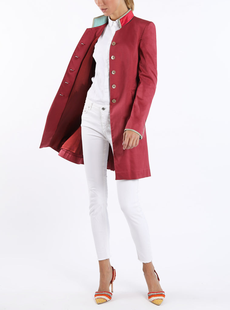 Long blazer from ultrafine-jersey in berry colour