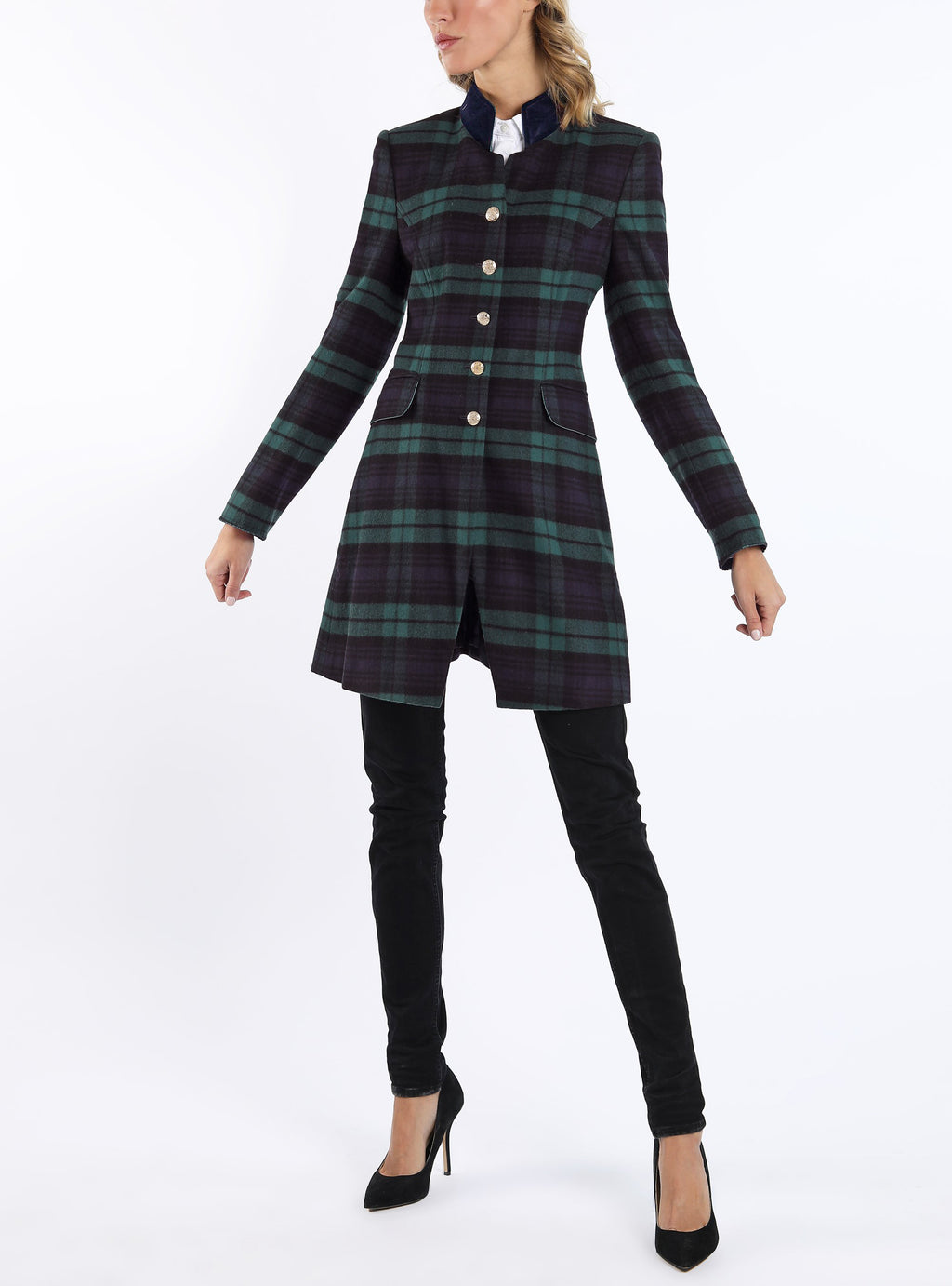 Long-blazer from tartan-wool in blackwatch