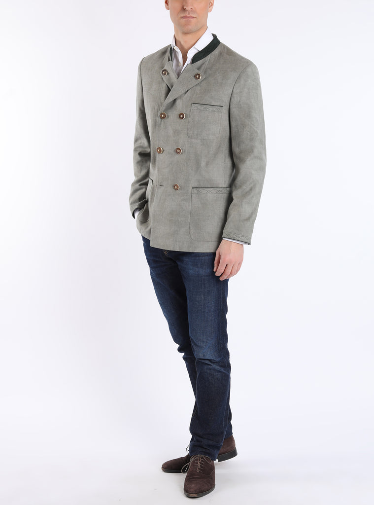 Double-breasted jacket from coolwool in reed colour