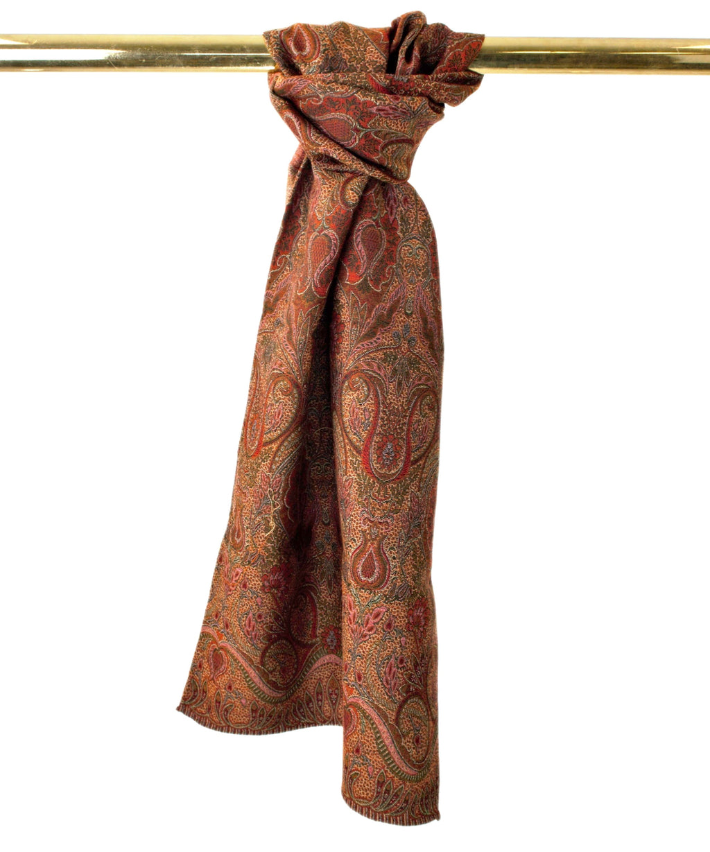 Paisley, scarf, Schal, wool, Wolle, Seide, silk, green, brown, grün, braun, orange