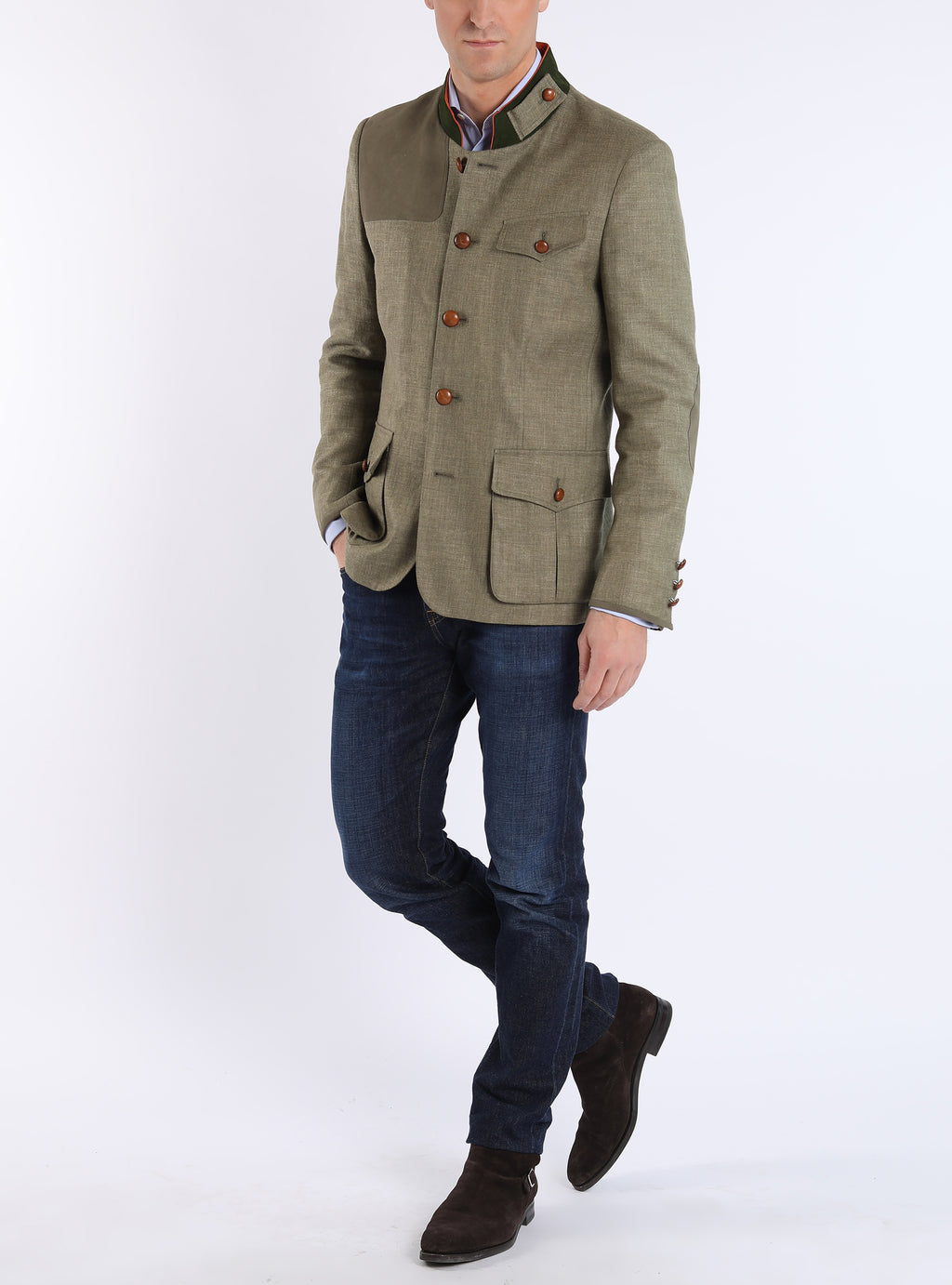 The Shooting Jacket made of linen tweed poplar