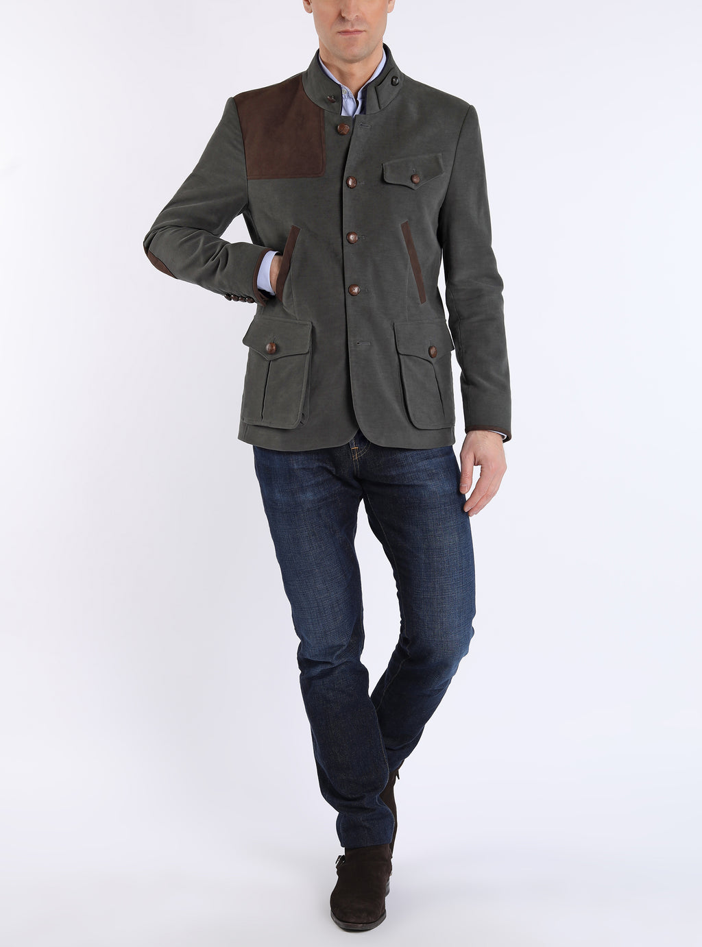 Shooting Jacket from Italian Moleskin in olive