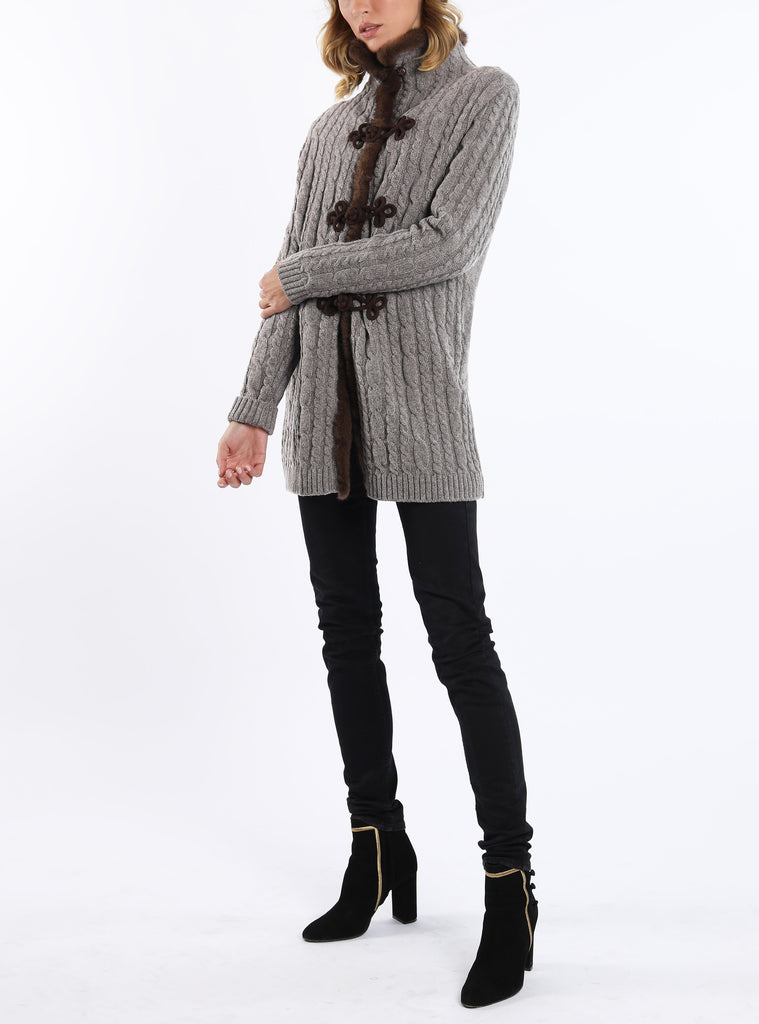 Cardigan from lambswool in grey-brown