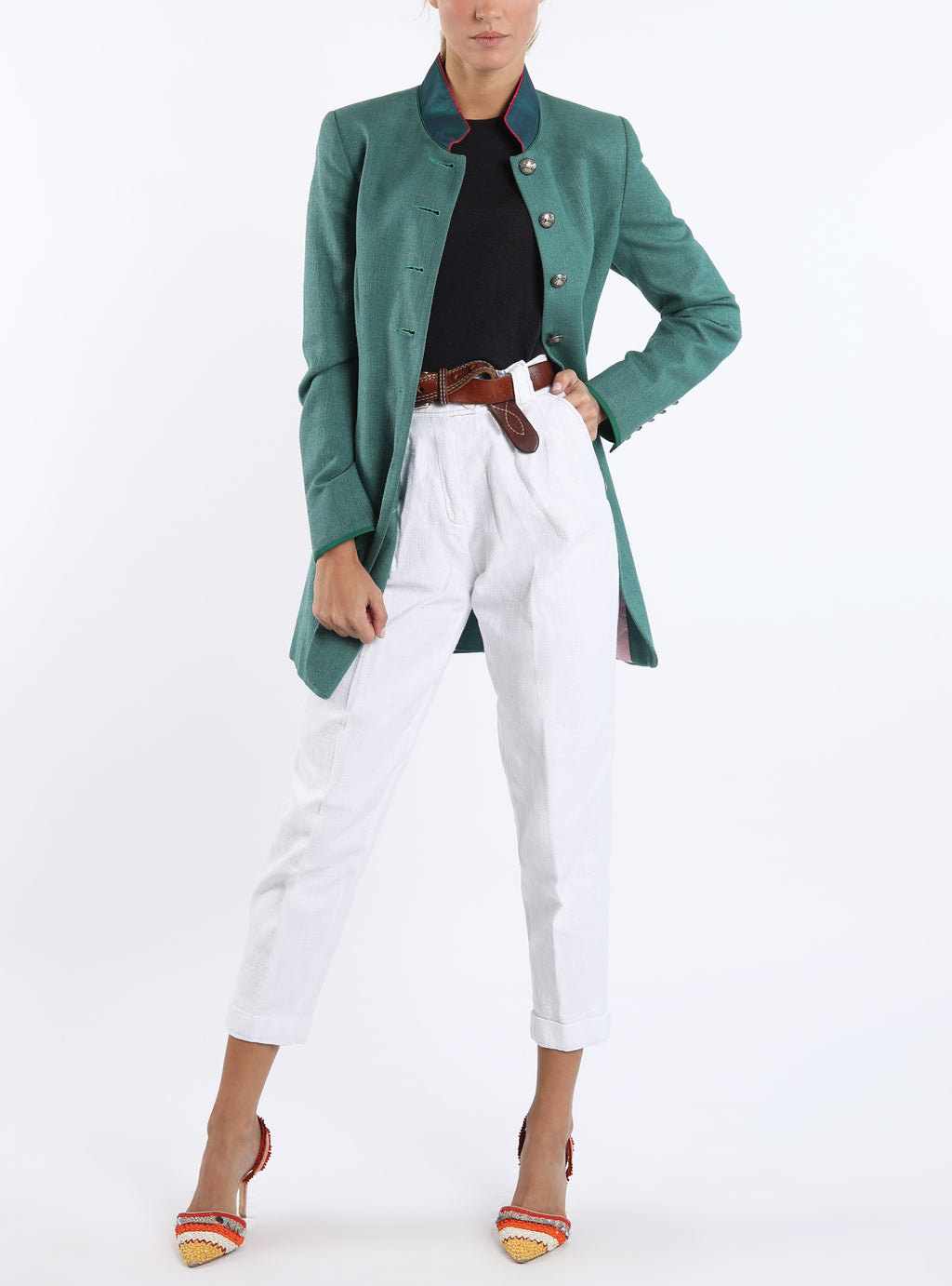 Long blazer from emerald green wild silk