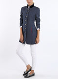 Long blazer from blue washed Austrian linen