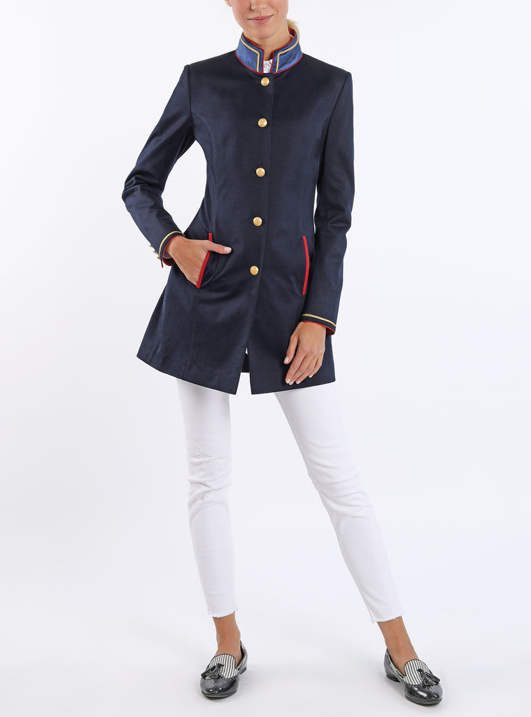 Long blazer from a lightweight navy cotton-jersey