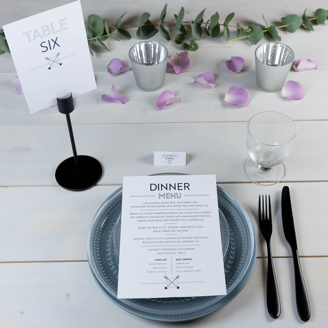 wedding stationery, 'on the day' stationery, table number, personalised initials, PaperLove inc.