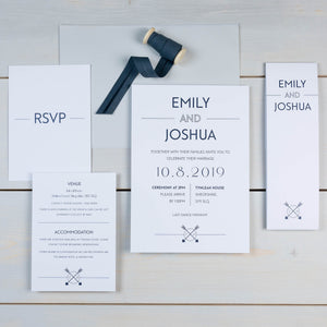 wedding stationery suite, luxury wedding invitations, personalised initials, PaperLove inc.