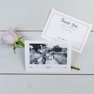 Thank You Cards, Wedding Stationery, Cupids Arrow Pattern, Botanical, Flutter, PaperLove inc.