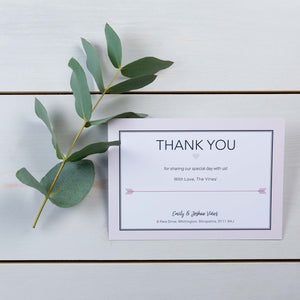Thank You Cards, Wedding Stationery, Cupids Arrow, Woodland, PaperLove inc.