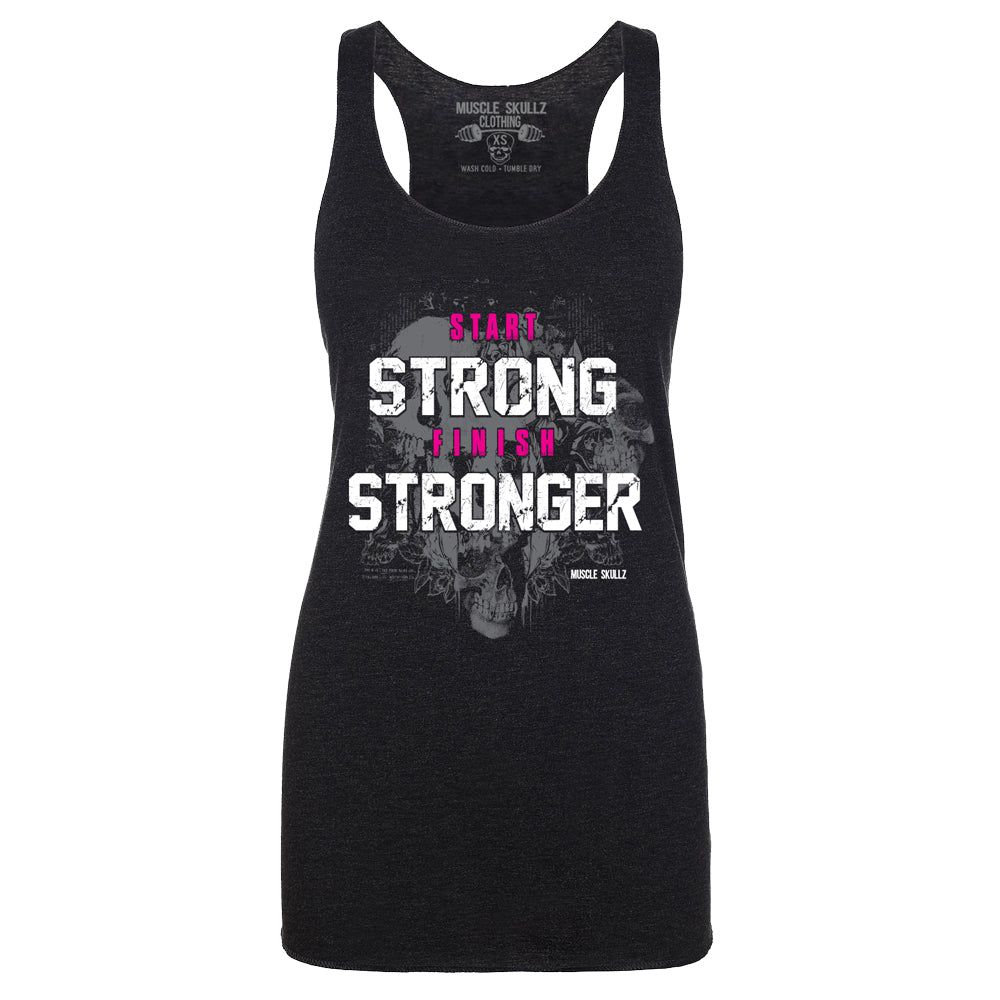 START STRONG FINISH STRONGER WOMEN'S RAW RACERBACK TANK