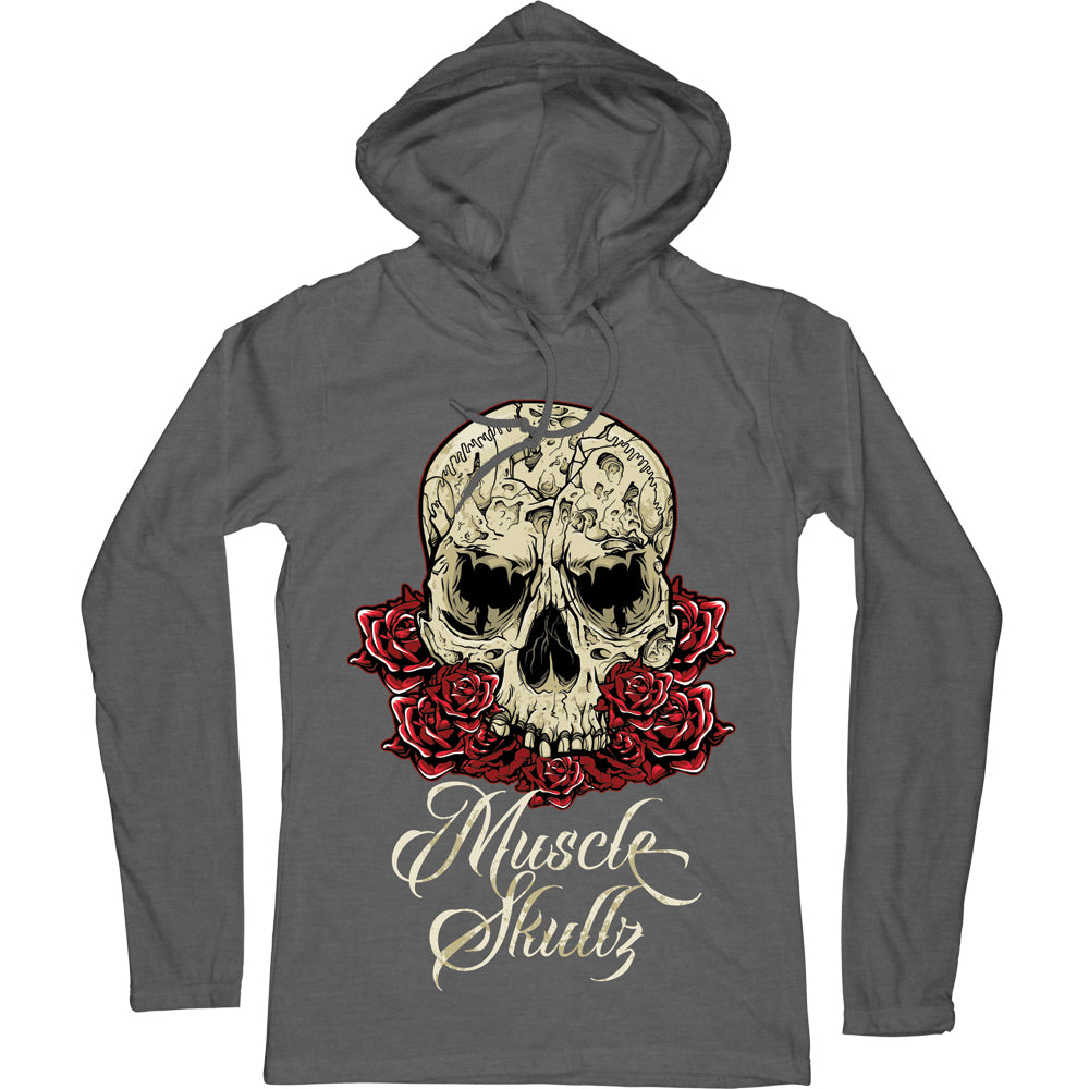 ROSE SKULL LIGHTWEIGHT LONG SLEEVE HOODED TEE