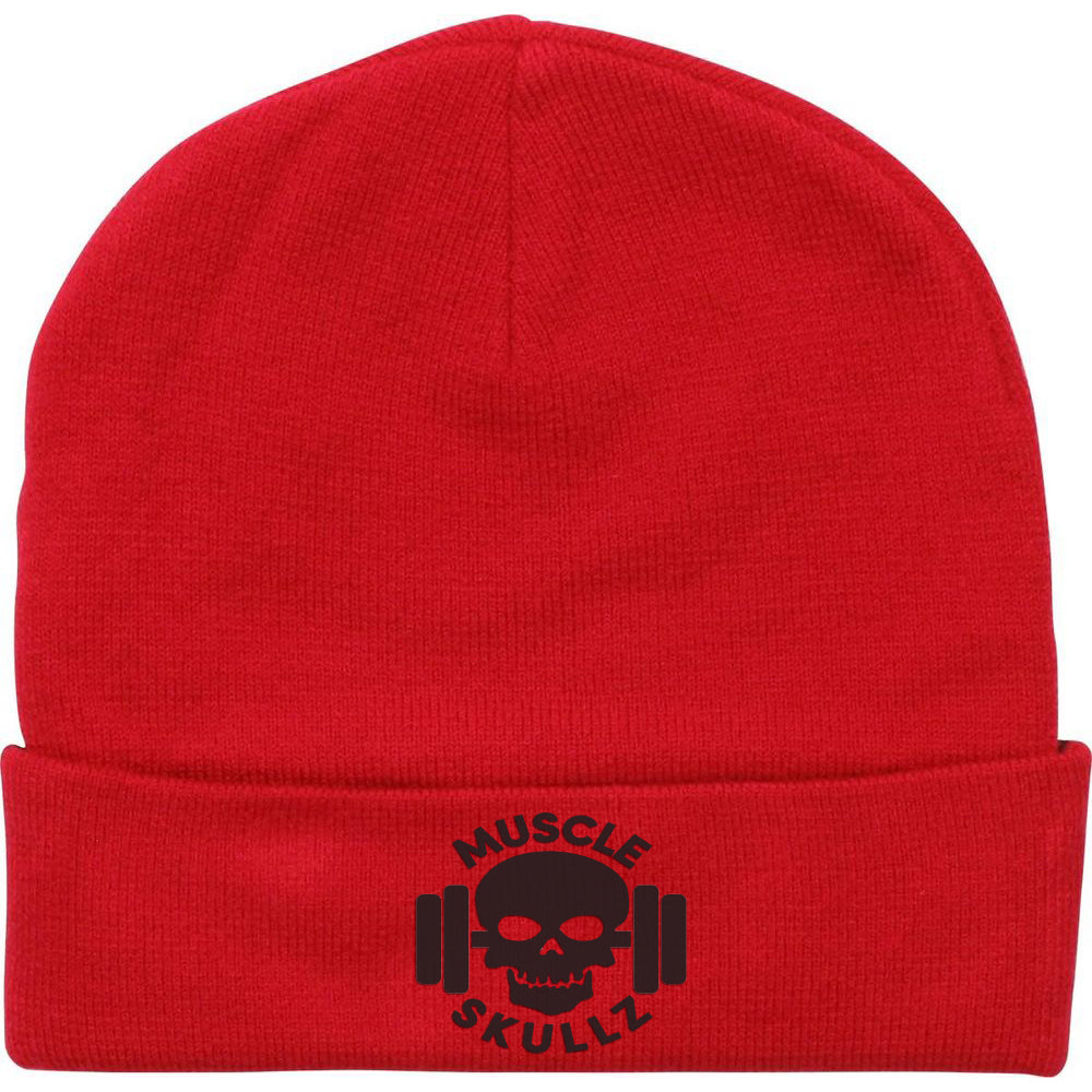 MUSCLE SKULLZ CUFFED BEANIE - RED