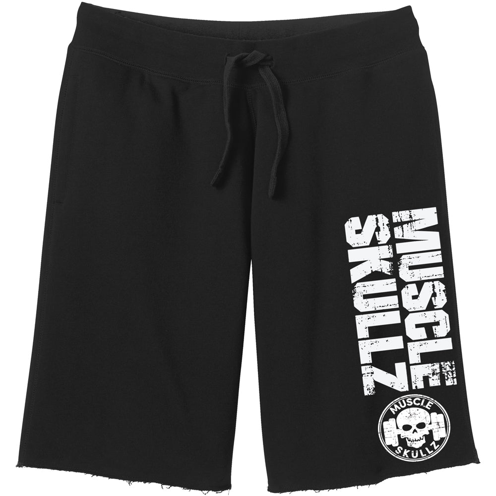 MUSCLE SKULLZ MEN'S BLACK FLEECE SHORTS - V2