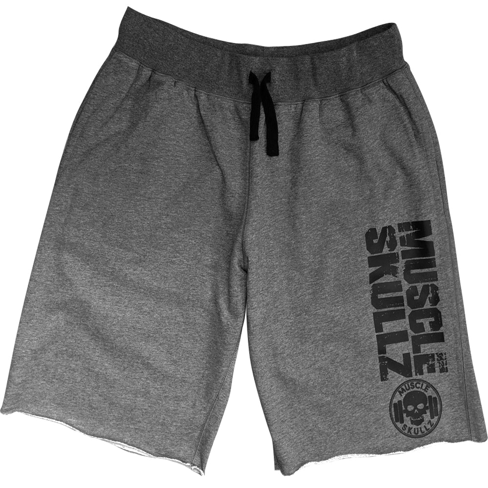 MUSCLE SKULLZ MEN'S DARK GRAY FLEECE SHORTS