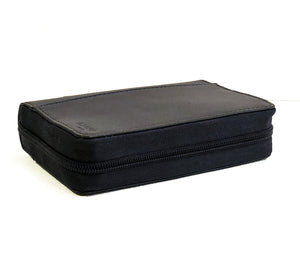 Diabetic leather supplies carrying case kit black zipper