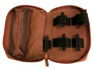 Diabetic leather supplies carrying case kit tan storage open